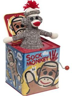 Sock Monkey-In-the-Box available at The Vermont Country Store