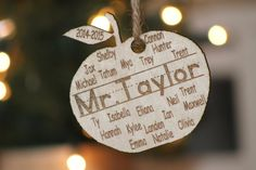 Personalized Christmas Ornament  Wood Engraved Apple Teacher Ornament with name and students name engraved Teacher Gift - $10.00