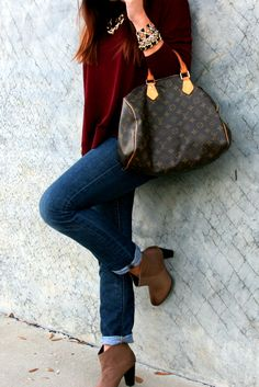 Fall, maroon top, skinny jeans, brown boots