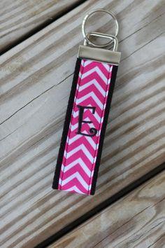 Pink Chevron Monogramed Key Chain/ Key Fob-Pink or Black Chevron As shown above. $7.00, via Etsy.