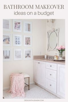 Looking to update a builder grade bathroom? These bathroom makeover ideas will help you upgrade your bathroom on a budget. Cute Home Decor, Cheap Home Decor, Bathroom Vanity Makeover, Budget Bathroom Makeovers, Vanity Decor, Living Room Decor, Bedroom Decor, Wall Decor, Builder Grade