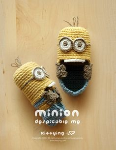Minion Despicable Me Baby Booties Crochet PATTERN, PDF