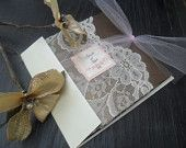 The gated Collection on Ivory - Lace Wedding Invitation Suite. $6.00, via Etsy.