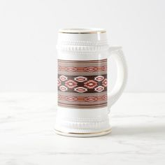 Southwestern navajo tribal pattern beer stein - home gifts ideas decor special unique custom individual customized individualized