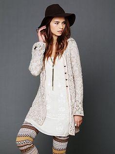 slip dress, long sweater and knit leggings