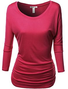Tunic 3/4 Sleeve Shirring Tops RED Size S Awesome21 http://www.amazon.com/dp/B00Q7HQ2GG/ref=cm_sw_r_pi_dp_2WeYub1ERJ17B