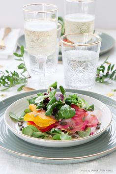 Carpaccio på tre sorters beta med sallad maché och honung champagne Tapas, Champagne, Cooking Recipes, Sweet, Vegetarian, Valentines, Events, Entertaining, Food