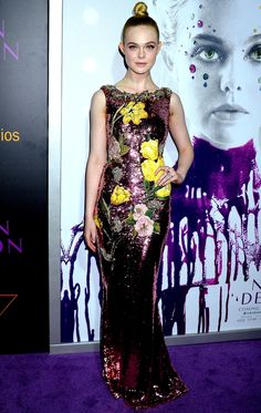 Elle Fanning in a pink sequin Dolce & Gabbana dress