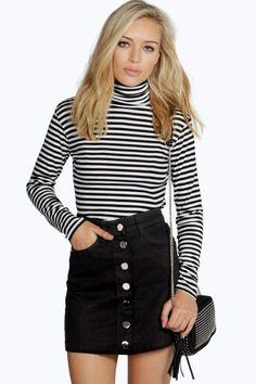 1960s Inspired Dresses & Clothing UK Laura Black Denim Button Through Mini Skirt black $26.00 AT vintagedancer.com