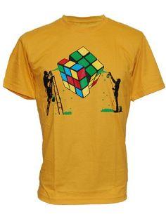 RUBIKS Magic CUBE Rubiks Fun Geek Mens T-SHIRT - Yellow - Medium