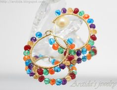 Gemstone hoops with Apatites, Amethysts, Citrines, Rubies, Green Quartz, Carnelians in 14K gold filled by Arctida.