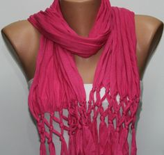 Hot Pink  Shawl Scarf   Cowl by fatwoman on Etsy, $17.00