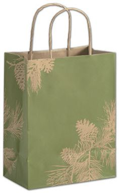 Fresh Balsam Shoppers, 8 1/4 x 4 3/4 x 10 1/2.   ◾250 bags per case. ◾Made of 74# recycled natural kraft paper with a varnish finish. ◾80% post-consumer waste. ◾Recyclable. ◾Kraft twisted-paper handles. ◾Serrated-edge top. ◾This product can be personalized with your business information or logo. Call 800.379.7969 for assistance. ◾Coordinate with other items in the Fresh Balsam Collection. ◾Eco-Friendly.
