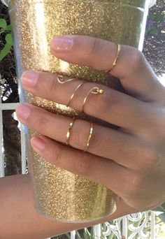 Above the knuckle Gold ring  Wire Midi Ring
