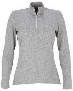 Grey Heather Essentials Greg Norman Ladies 1/4-Zip Heather Performance Golf Pullover available at @lorisgolfshoppe