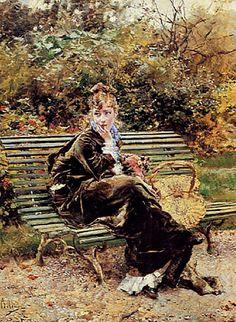Giovanni Boldini (Italian, 1842-1931) - Sitting in the Garden