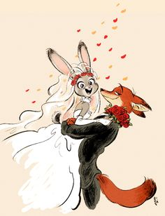 e621 anthro bridal_veil bride buckteeth canine clothing cute disney dress duo female flower fox fur green_eyes grey_fur holding_(disambiguation) judy_hopps lagomorph looking_at_viewer male mammal milsae nick_wilde open_mouth orange_fur petals plant purple_eyes rabbit simple_background size_difference smile teeth wedding wedding_dress zootopia