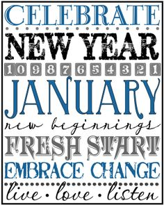 Free Printable New Years Eave Subway Art New Year Printables, Free Printables, New Year's Crafts, Paper Crafts, New Year Celebration, Subway Art, Months In A Year, Seasons Months, 12 Months