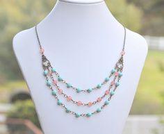 Triple Strand Boho Style Statement Necklace Bib di RusticGem, $64,00