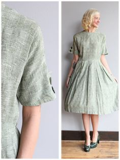1950s Dress // Poinette Dress // vintage 50s by dethrosevintage