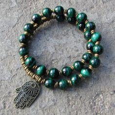 Intuition, Malachite 27 bead mala bracelet with hamsa hand