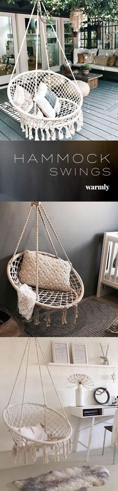 Ada - Macrame Hanging Swing Chair Ada - Rope Hammock Swings - Off ★★★★★