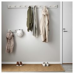 IKEA - KUBBIS, Rack with 7 hooks, gray, Different wall materials require different types of fasteners. Use fasteners suitable for the walls in your home. Tested and approved for bathroom use. Coat Hooks Hallway, Entryway Hooks, Wall Hooks, Ikea Entryway, Wall Shelves, Ikea Hallway, Shelf, Coat Storage, Small Storage