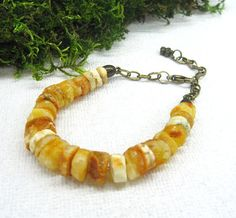 Raw Amber Bracelet Baltic Amber jewelry eco fashion by SanaGem
