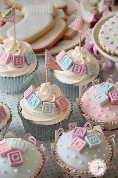 Baby shower cupcakes. Alphabet block cupcakes. For an array of cake decorating supplies visit www.weddingacrylics.co.uk :)