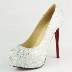 The Christian Louboutins I'm getting! My man spoils me :) soooo wedding perfect. And Cinderella glass slipper like Louboutin Online, Red Louboutin, Sparkly Pumps, White Pumps, Wedding Shoes Bride, Bridal Shoes, Red Bottom Pumps, Pump Shoes, Shoes Heels