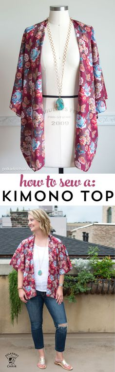 How to sew a Kimono Top or Jacket for Summer, a DIY fashion sewing tutorial - by Melissa Mortenson of polkadotchair.com