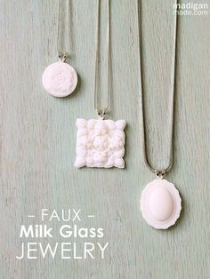 Faux Milk Glass Jewelry Pendants - So easy to make!