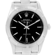 For Sale on - Rolex Air King 34 Black Dial Oyster Bracelet Mens Watch Automatic self-winding movement. Stainless steel case 34 mm in diameter. Rolex logo on a Rolex Air King, Swiss Luxury Watches, Luxury Watches For Men, Rolex Oyster Perpetual Date, Rolex Logo, Rolex Watches For Men, Men's Watches, Diamond Watches, Men Watches