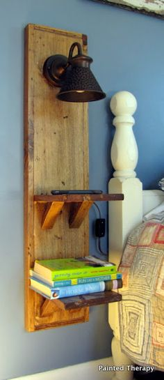 a great idea to build a wall-mounted night stand when floor space is limited. {Painted Therapy}Such a great idea to build a wall-mounted night stand when floor space is limited. Bedroom Furniture, Diy Furniture, Bedroom Decor, Bedroom Ideas, Bedroom Lighting, Bed Ideas, Bedroom Bed, Painting Furniture, Bedroom Night