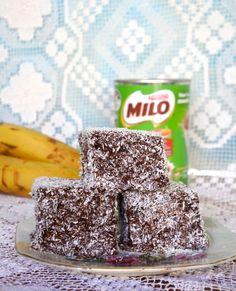 Green Gourmet Giraffe: Malted banana lamingtons with Milo
