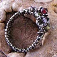orgarnet ring~handmade gemstone sterling silver wire wrappped ring by GRJ