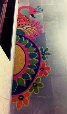 These New Year rangoli designs may not be as detailed as Sankranti rangoli designs or Diwali rangoli or even the themed ones like Ganesh rangoli, and so on. Rangoli Designs Latest, Rangoli Designs Flower, Rangoli Border Designs, Latest Rangoli, Small Rangoli Design, Colorful Rangoli Designs, Rangoli Designs Images, Flower Rangoli, Beautiful Rangoli Designs
