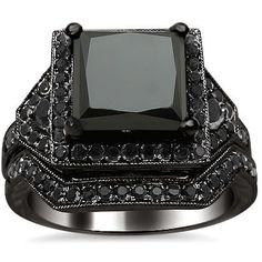 #blackdiamondgem 4.25ct Black Princess Cut Diamond Engagement Ring Bridal Set 14K Black Gold Rhodium Plating Over White Gold by Front Jewelers - See more at: http://blackdiamondgemstone.com/jewelry/wedding-anniversary/bridal-sets/425ct-black-princess-cut-diamond-engagement-ring-bridal-set-14k-black-gold-rhodium-plating-over-white-gold-com/#!prettyPhoto: #blackdiamondgem 4.25ct Black Princess Cut Diamond Engagement Ring Bridal Set 14K Black Gold Rhodium Plating Over White Gold by Front…