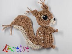 Squirrel Crochet Applique Pattern by HomeArtist on Etsy Crochet Squares, Crochet Motif, Crochet Designs, Crochet Flowers, Crochet Stitches, Motifs Animal, Crochet Animal Patterns, Applique Patterns, Crochet Animals