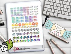 Happy Mail Printable Planner Stickers, Happy Planner Sticker Kit, Planner Stickers for Erin Condren Planner, Functional Mail Icon Stickers