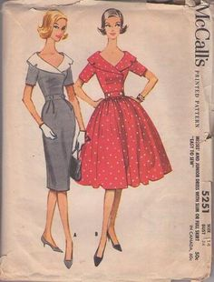 MOMSPatterns Vintage Sewing Patterns - McCall's 5251 Vintage 50's Sewing Pattern STUNNING Notched Collar Double Breasted Mad Men Rockabilly Cocktail Party Dress, Slim Pencil or Full Pleated Skirt Size 14