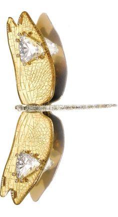 Rock crystals ornament a gold dragonfly brooch by JAR