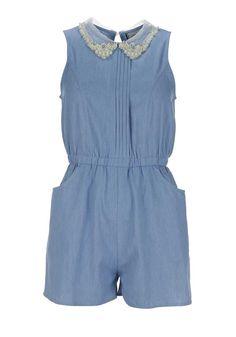 Boutique Embellished Collar Denim Playsuit, Blue | McElhinneys Department Store