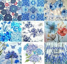 9 Single Different Lunch Paper Napkins for Decoupage Craft Party Blue Flo Mix