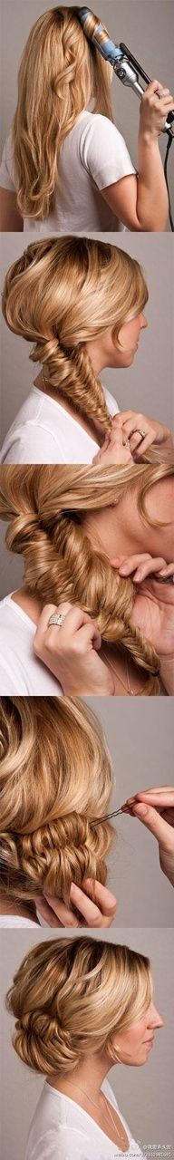 "Testimonial: I pinned this with the thought of Wow, another great pinterest hairstyle that Ill never be able to do. But let me just tell you IT WORKS! If you know how to fishtail braid, this is the easiest and most impressive updo Ive ever done!! Got compliments on it all night long and it only took me about 10 minutes to do. HIGHLY recommend it!!!"" data-componentType=""MODAL_PI"