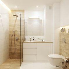 Łazienka biel+drewno - Mała łazienka w bloku w domu jednorodzinnym bez okna, styl nowoczesny - zdjęcie od WOSMEBL Rzeszów Meble na wymiar