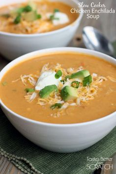 Slow cooker Chicken Enchilada Soup made from scratch! (NO canned enchilada sauce!)