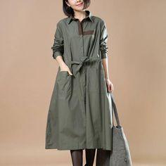 Spring Elegant Pocket Army Green Dress
