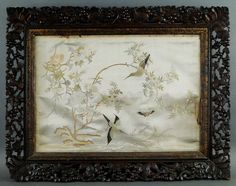 Antique Chinese Silk Textile Embroidery Birds Carved Squirrel Wood Frame 1684   eBay