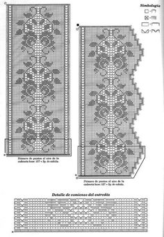 Filet crochet lace rose bouquet & scroll bedspread strip and edging with points ~~ Szydełkomania: Firana Crochet Lace Edging, Crochet Motifs, Crochet Borders, Thread Crochet, Love Crochet, Irish Crochet, Crochet Doilies, Crochet Patterns, Lace Patterns